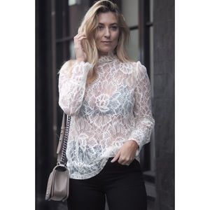 & other stories Ivory Long Sleeve Lace Top Blouse
